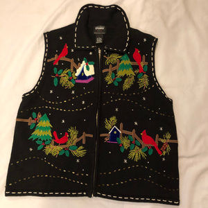 Studio Joy Ugly Christmas Cardinals sweater vest